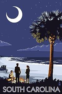 South Carolina - Palmetto Moon (12x18 Art Print, Wall Decor Travel Poster)