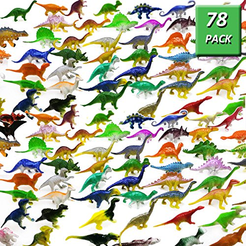 (OuMuaMua Dinosaur Figure Toys 78 Pack - Plastic Dinosaur Set for Kids and Toddler Education, Including T-rex, Stegosaurus, Monoclonius, etc)