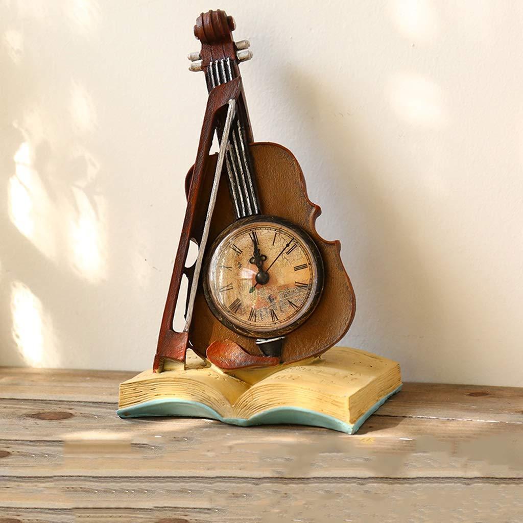 CXQ Creative Simple Desktop Clock Resin Violin Model Ornaments Living Room Bedroom Bedside Table Decoration (Color : Blue)