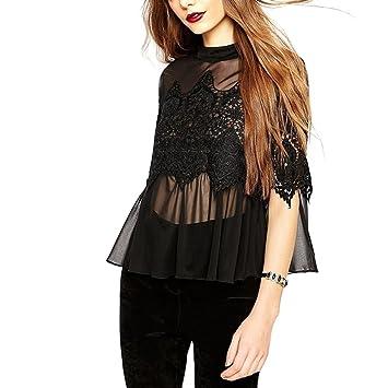 MIOIM® Mujer de Blusa de Encaje del Cordón de Costura Mujeres Camisas Casuales y Atractivo