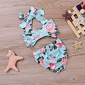 - 61LyR6EcZCL - 2Pcs Baby Girls Halter Bowknot Tube Top+Floral Short Bottoms Bikini Bathing Suit Swinwear
