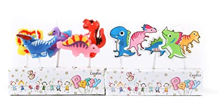 ICASA Funny Dinosaur Birthday Candles Supplies Party Cake Topper Decor
