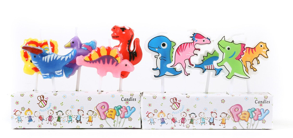 ICASA Funny Dinosaur Birthday Candles, Dinosaur Birthday Supplies Party Cake Candles Cake Topper Decor, 10-Pack 2.5 inch each, Kids Children Supplies Celebration Candle