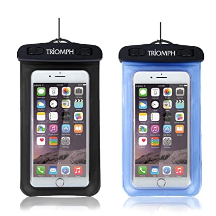 best service 816ad 70af0 Triomph Universal Waterproof Cell Phone Bag, 2 Pack Waterproof Phone Pouch  with Military Class Lanyard for iPhone X, 8/8 Plus/7/7 Plus/6/6s ...