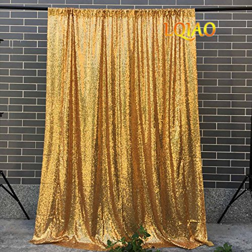 LQIAO Sequin Backdrop Curtain Sparkly Photo booth Background Photography Fabric-4x7FT Gold]()