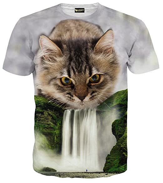 173e3b7aa82 Pizoff Mens Womens Casual Short Sleeve Crew Neck 3D Digital Funny Cat  Waterfall Print T Shirts