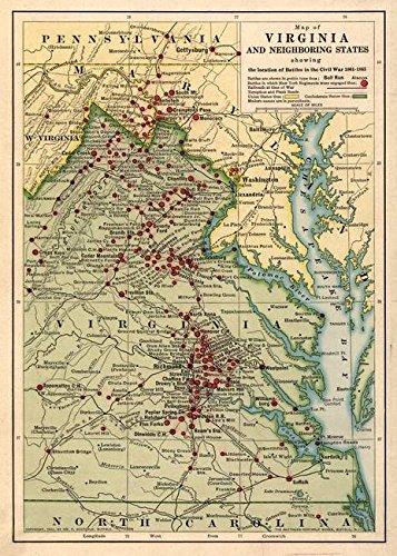 (Wall Art Print Entitled Vintage Virginia Civil War Battlefield Map (1912) by Alleycatshirts @Zazzle | 23 x 32 )