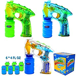 Joyin Toy Pact of 3 LED Light Up Bubble Guns with 6 of 4oz Bubbles Party Favors