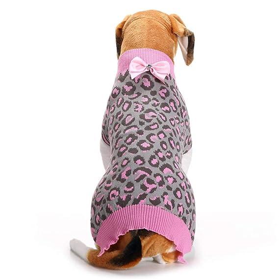 Ropa para Mascotas,Dragon868 Moda Caliente Invierno Bowknot Leopardo suéter para Mascota Perro Cachorro: Amazon.es: Ropa y accesorios