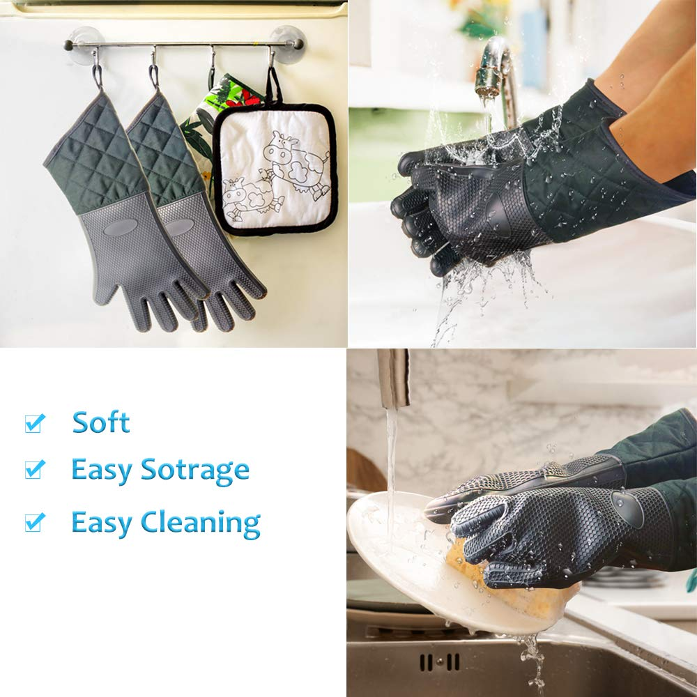 EFAGL Silicone Oven Mitts with Quilted Cotton Lining,Extra Long Professional Heat Resistant Pot Holder&Cooking/Grilling Gloves by EFAGL