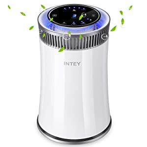 INTEY Air Purifier for Home and Office with True HEPA Filter, Air Cleaner for Allergies and Pets, Dander, Odors, Smokers, Mold, Dust, Pollen, Germs with 5 Timer, 5 Speed, UV Air Sanitizer