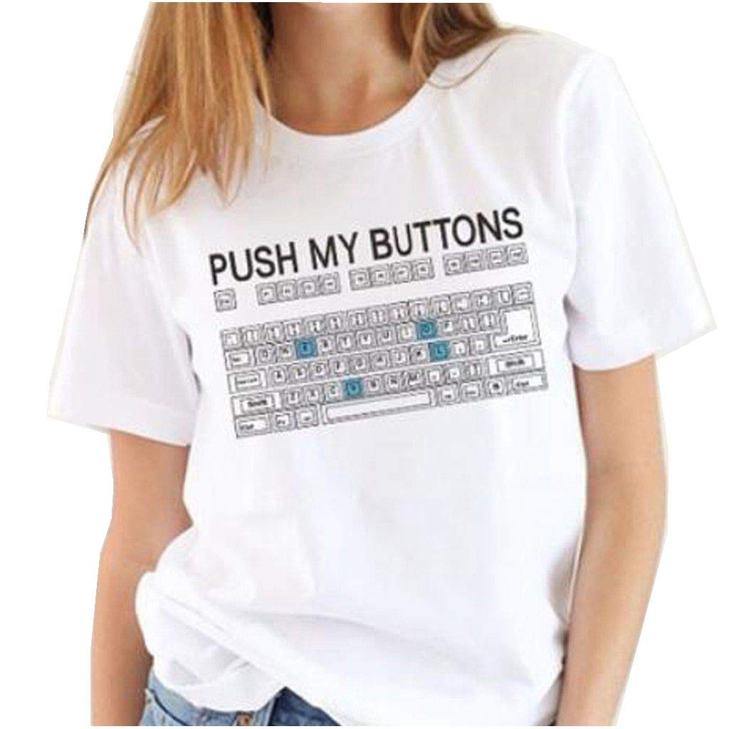 Plus Size T-Shirts for Women Short Sleeve Funny Vintage Casual Keyboard Blouse Tops (M, White)