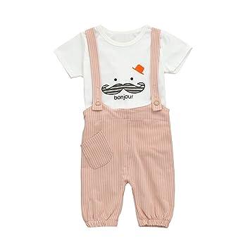 feiXIANG Ropa de bebé bebé niña niño Primavera y Verano Nueva Ropa de niñas Conjunto Barba impresión Camisa de Manga Corta Traje Babero a Rayas: Amazon.es: ...