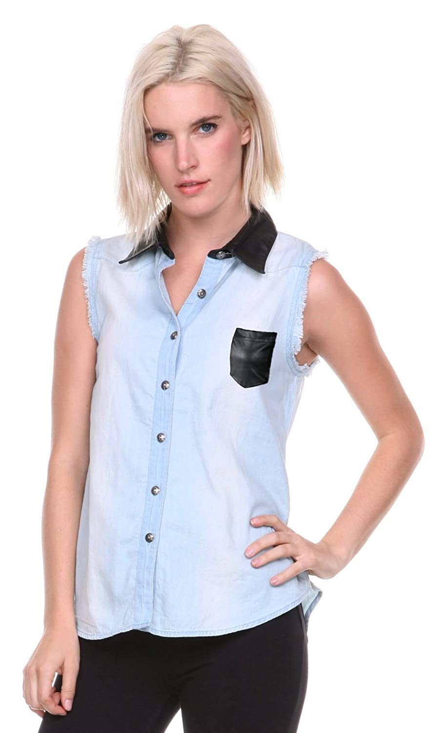 Stanzino@ Women's Sleeveless Denim Shirt