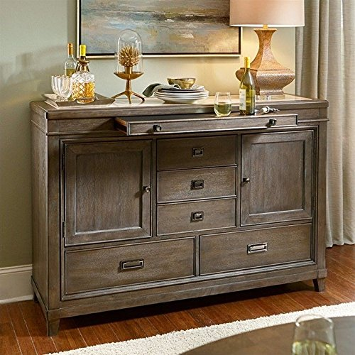 American Drew Park Studio 5 Drawer Wood Buffet in Taupe