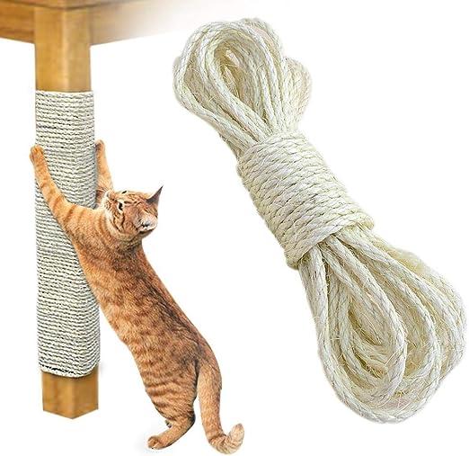 Layopo Cuerda de sisal natural sin tratar (1/4 pulgadas) para rascador de gatos, cuerda de