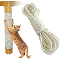 Twisted Sisal Rope, Cat Natural Sisal Rope for Scratching Post Tree Replacement, Hemp Rope for Repairing, Recovering or DIY Scratcher, 6mm Diameter, Come with a Sisal Ball