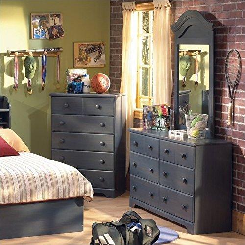 South Shore Summer Breeze Kids Antique Blue Twin Wood Captain's Bed 3 Piece Bedroom Set