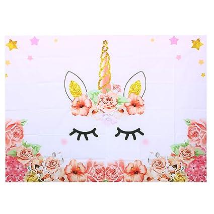Amazon.com: Uonlytech Unicorn Photo Studio Background 3D Baby Birthday Party Photography Backdrop Unicorn Theme Baby Shower Birthday Party Decorations ...
