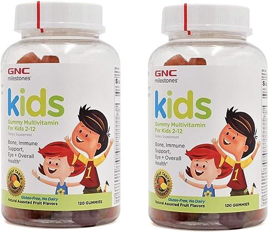 Amazon.com: GNC Milestones Kids Gummy Multivitamin for Kids 2-12 Years Old  2 Pack (2 Bottles of 120 Gummies Each Bottle): Health & Personal Care