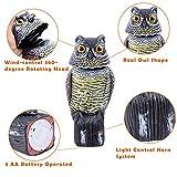 Ohuhu Horned Owl Pest Deterrent Rotating Head Scarecrow Pest Control Repellents Owl Decoy