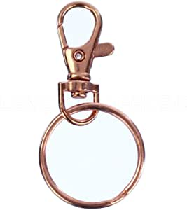 """25 Sets (50 Pcs) - CleverDelights 1.5"""" Swivel Lanyard Snap Hook with Key Rings - Rose Gold Color - Metal Lobster Clasps Set"""