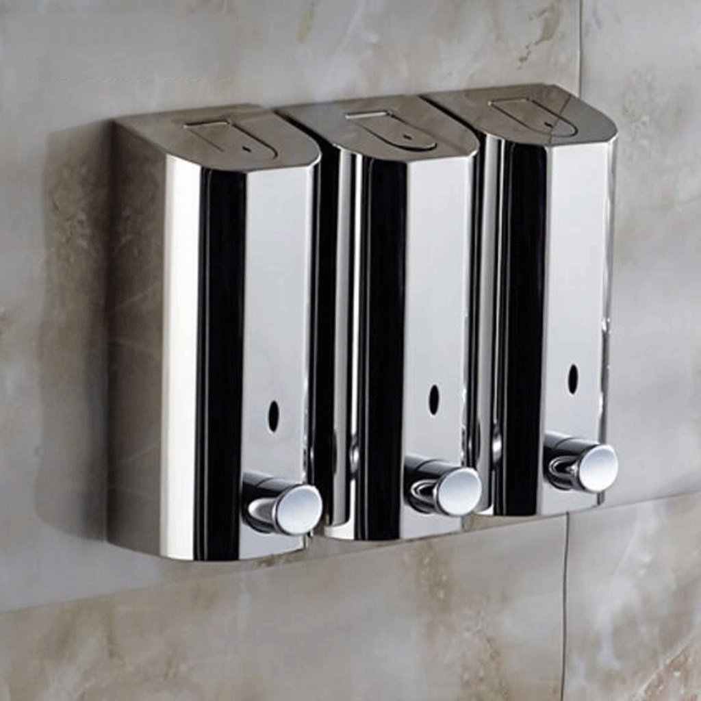 WTL Dispenser di sapone Bagno domestico in acciaio inossidabile a parete montato manuale doppio testa gel doccia bottiglia per sapone dispenser mano Sanitizer ( Colore : Double head )