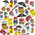 Baker Ross Lot de 96 Autocollants Pirates en Mousse - Idéal pour les amateurs de Pirates
