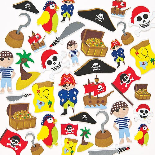 Baker Ross Pirate Foam Stickers (Pack of 96) Self-Adhesive Puffy Stickers Shapes for Scrapbook, Craft Embellishments, Decorating & Card Making ()