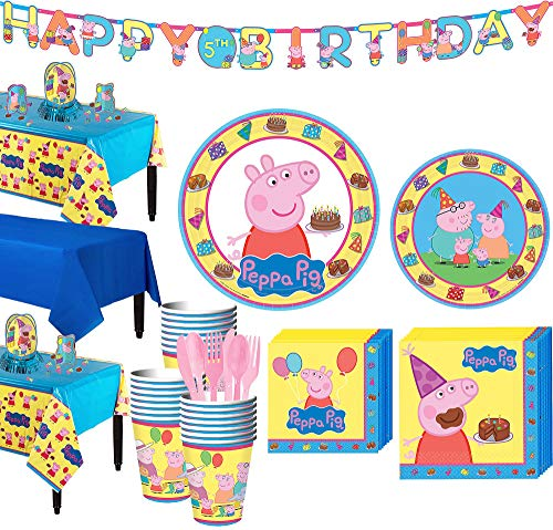 Party City Peppa Pig Tableware Party Supplies for 24 Guests, Include Plates, Napkins, Cups, a Banner, and -