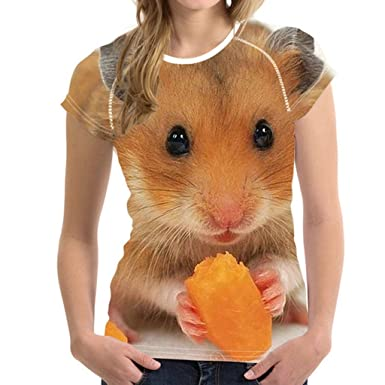 TEXAS, FOOTBALL COUNTRY Women T Shirts Cute Hamster Short Sleeve 3D Tee Ladies T-