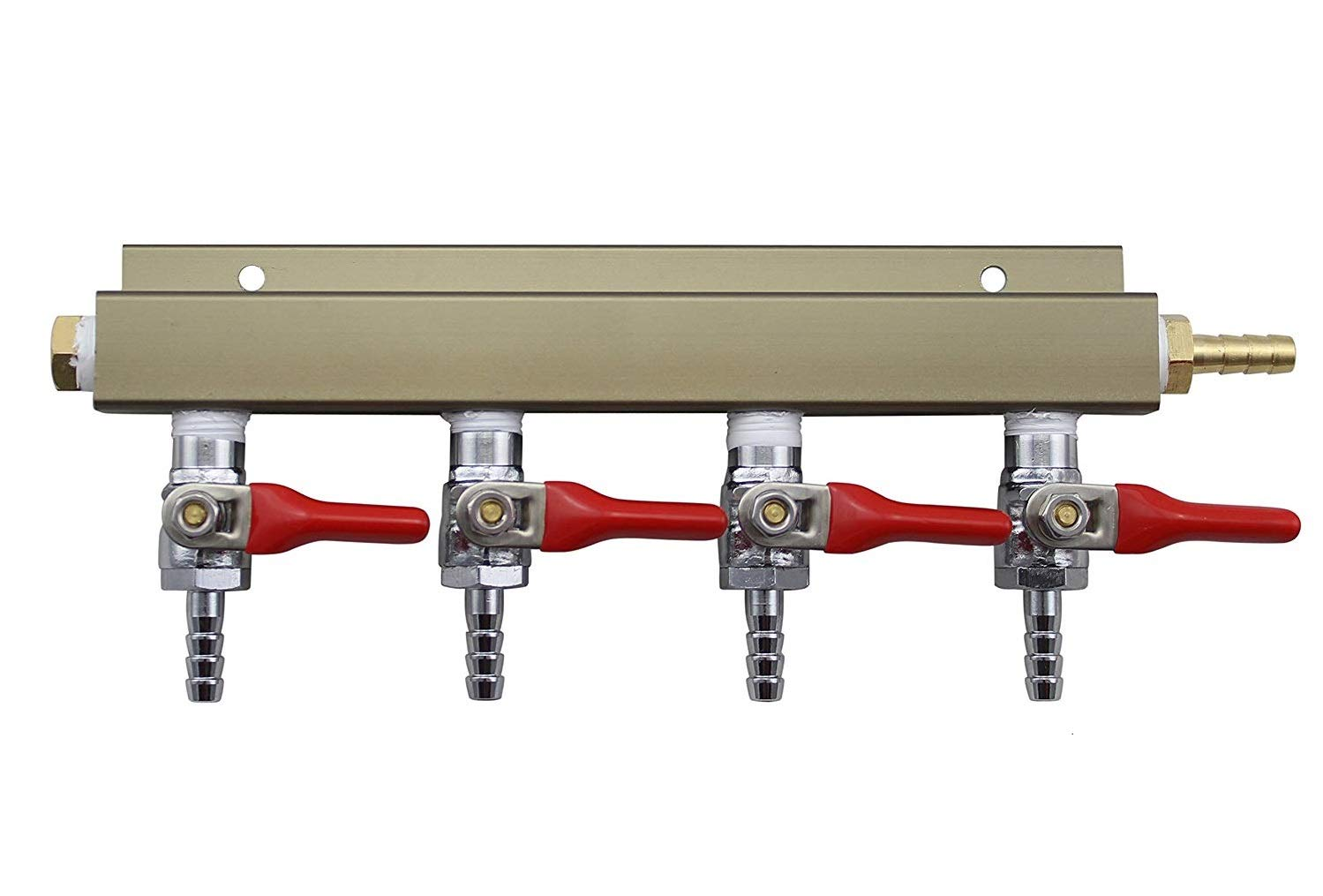 "The Weekend Brewer 4-way 1/4"" Barb CO2 Distributor Manifold with integrated check valves"