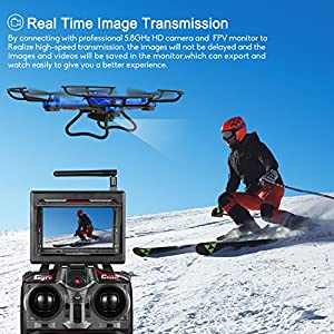 Drone with HD Camera, Potensic F181DH RC Drone Quadcopter RTF Altitude Hold UFO with Stepless-speed Function, 2MP Camera& 5.8Ghz FPV LCD Screen Monitor & Drone Carrying Case(Blue) from Potensic