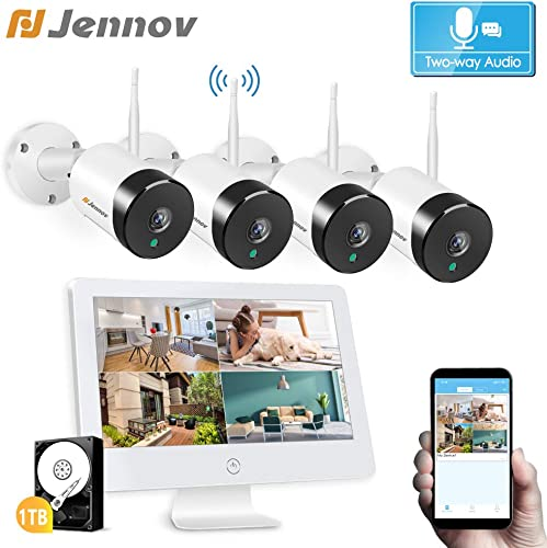 Two Way Audio Home Security Camera System Wireless Jennov 1080P 4pcs WiFi Video Surveillance Camera System Outdoor with White 12 inch Monitor Night Vision Pre-Installed 1TB Hard Drive