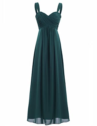 FEESHOW Women Pleated Chiffon Prom Dress Sleeveless Wedding Bridesmaid Evening Ball Cocktail Gown Dress Dark Green