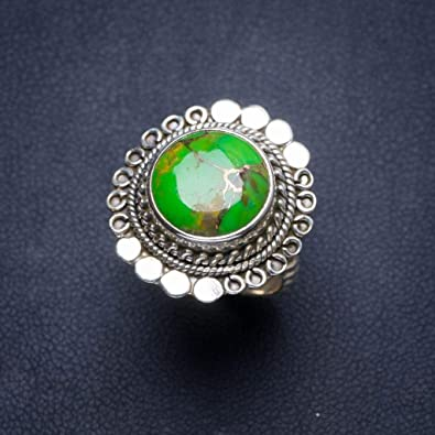 Natural Rainbow Moonstone and Peridot Handmade Unique 925 Sterling Silver Ring 8.75 B1346