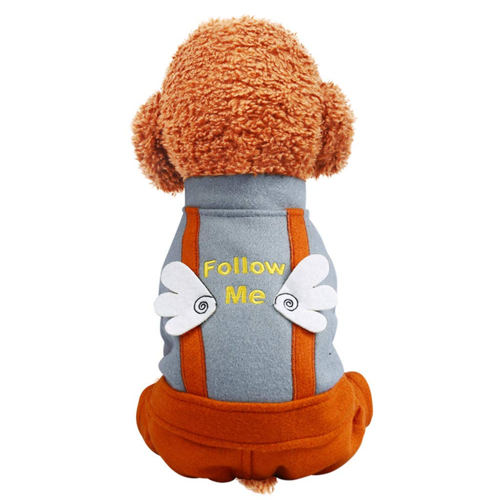 Rucokecg Cute Pet Angel Wings Bib Pants Autumn and Winter Comfortable Cat Dog Clothing XS, Gray