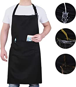 Will Well Adjustable Bib Aprons, Water Oil Stain Resistant Black Chef Cooking Kitchen Aprons with Pockets for Mens Women (1 Pack)