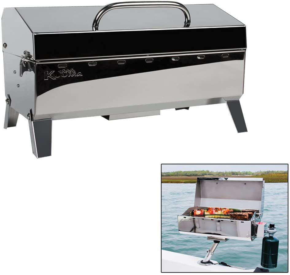 Kuuma Stow and Go Propane Tabletop and Mountable Grill – Stainless Steel Gas Grill with Foldable Legs Great for Camping, Boating, Picnics, Barbeques More 13,000 BTUs – 58130