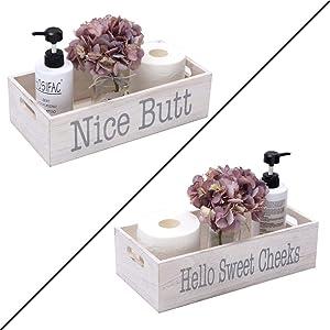 HOSROOME Nice Butt Bathroom Decor Box Toilet Paper Holder for Bathroom Dector Farmhouse Rustic Wood Storage Bin Funny Storage Box for Home Decor,White