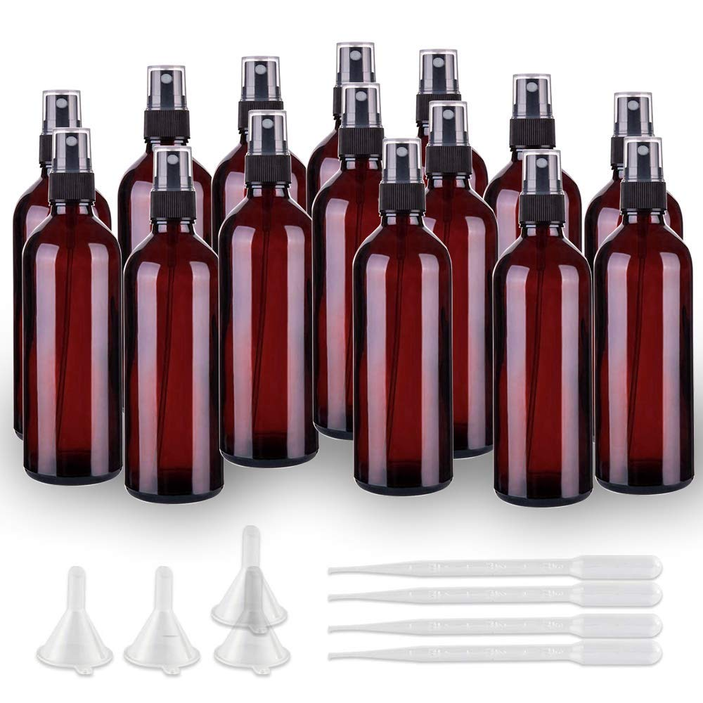 Small Amber Spray Bottle-Healthy Plastic& 2 oz Travel Size Spray Bottle For Hair&Hand,Cleaning Liquid Spray Bottles,Empty Mister Refillable Spray Bottles With ET,Essential Oil,Water,Etc (15 pack)