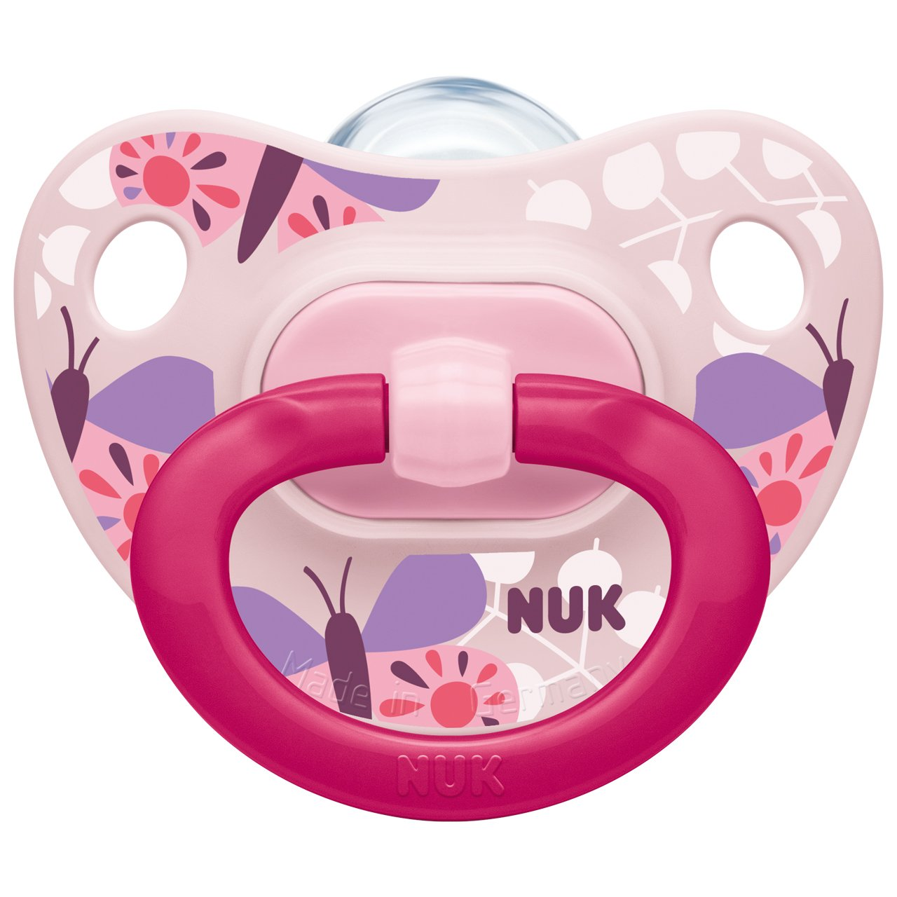 BPA Free Silicone Butterfly//Balloon NUK Happy Days Baby Dummies 6-18 Months 2 Count with Night and Day Silicone Soothers 6-18 Month Pink