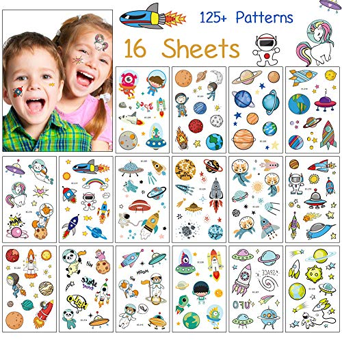 Kids Temporary Tattoos, 16 Sheets 125+ Patterns Outer Space Planet Temporary Tattoos with Space Ship for Girls & Boys Birthday Party, Outer Space Party Supplies Favors Tattoos Stickers