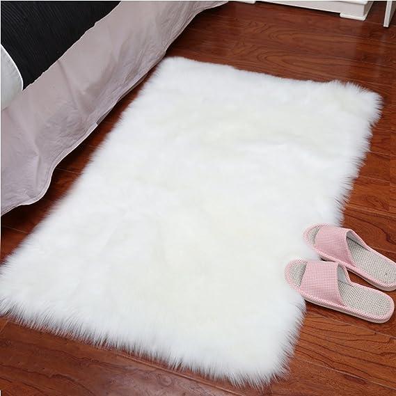 Yj.Gwl Super Soft Faux Sheepskin Fur Area Rugs For Bedroom Floor Shaggy Plush Carpet White Faux Fur Rug Bedside Rugs, 2 X 3 Feet Rectangle by Yj.Gwl