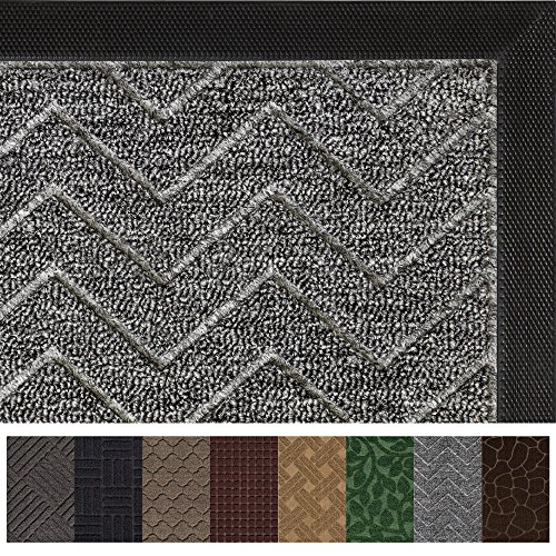 Gorilla Grip Original Durable Rubber Door Mat, Heavy Duty Doormat for Indoor Outdoor (35 x 23) Waterproof, Easy Clean, Low-Profile Mats for Entry, Garage, Patio, High Traffic Areas (Charcoal Chevron)