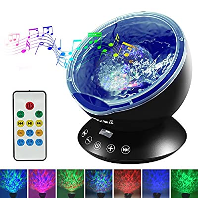 Emotionlite Ocean Wave Projector Night Light with Built-in Mini Relaxing Music Speaker