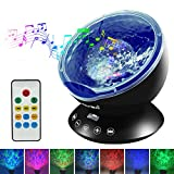 Emotionlite Ocean Wave Projector Night Light with Built-in Mini Relaxing Music Speaker and Remote Control 12 LED &7 Colors Changing Modes for Kids Adult Living Room and Bedroom (Black)