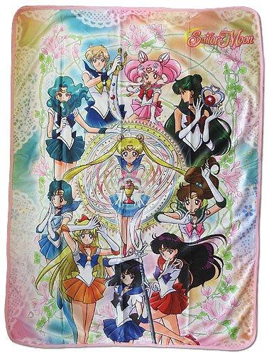Sailor Moon S - Sailor Moon Group Sublimation Throw Blanket (Wall Sailor Scrolls Moon)