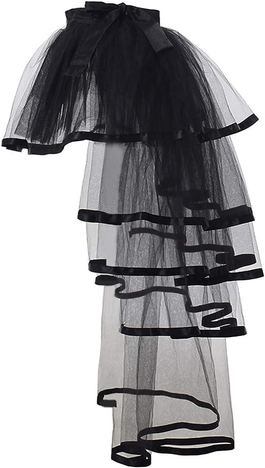 Black Edge GRACEART Steampunk Tie-on Bustle Costume Tutu Lace Underskirt