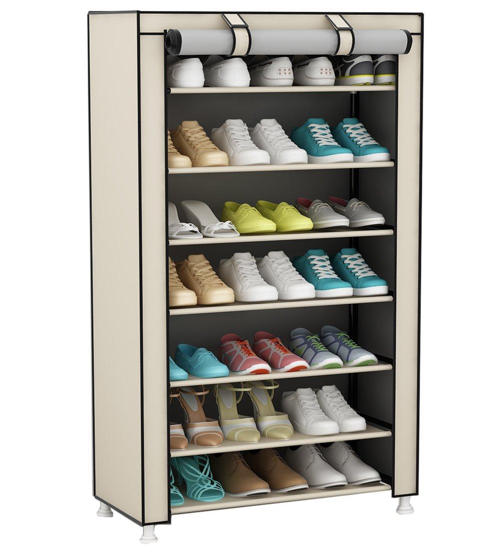 UDEAR 8 Tier Shoe Rack 21 Pair Shoe Storage Organizer Shelf Beige 60 * 30 * 126 CM